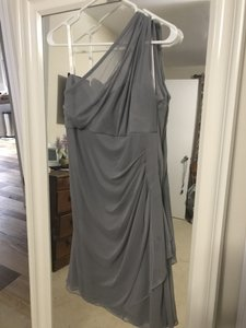 David's Bridal Mercury Polyester Short Illusion One Shoulder F19038 Traditional Bridesmaid/Mob Dress Size 14 (L)