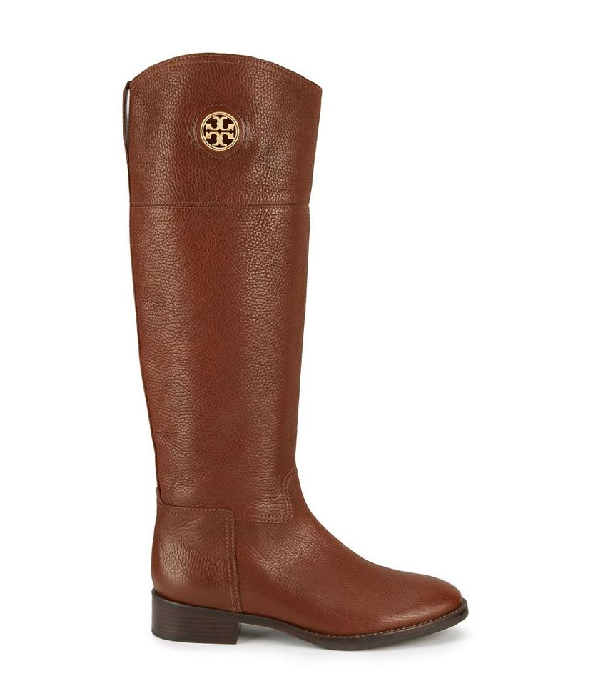 c3e599760232 Tory Burch Brown In Box Logo Junction Riding Boots Booties Size US ...