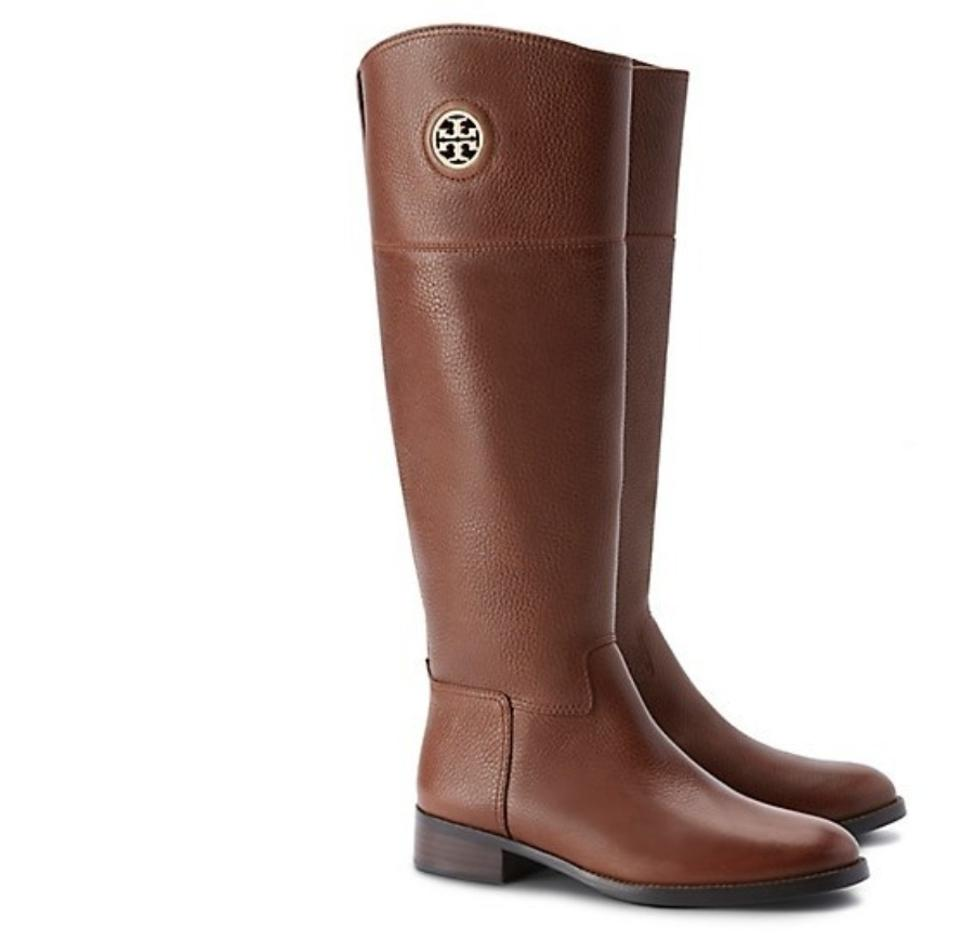 08d83a82475 Tory Burch Brown In Box Logo Junction Riding Boots Booties Size US ...