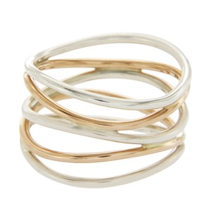 Tiffany & Co. Tiffany & Co Elsa Peretti Silver & 18K Rose Gold Wave 5 Raw Ring