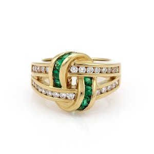 Charles Krypell 1.50ct Diamond & Emerald 18k Gold Double Band Knot Ring