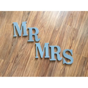 Gray Mr & Mrs Wooden Letters Reception Decoration