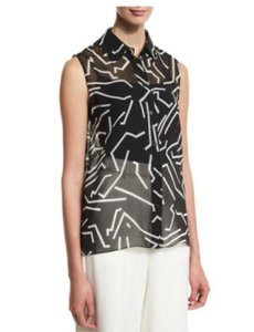 Alexander Wang Refined Graphic Wear To Work Top Black and White