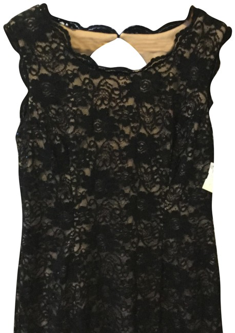 Item - Black and Nude Lace Flattering Style: Longer In The Long Formal Dress Size 14 (L)