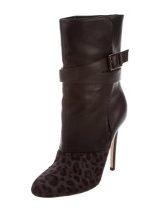 Jimmy Choo Fur Leather Animal Print Stiletto Italian black/ gray leopard Boots