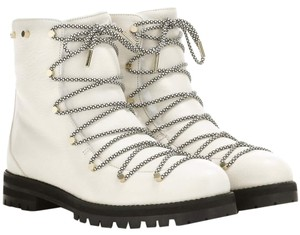 Jimmy Choo Fur Leather Studded Hiking Luxury White Boots