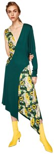 green Maxi Dress by Zara Combined Two-tone Two Print Asymmetric Floral