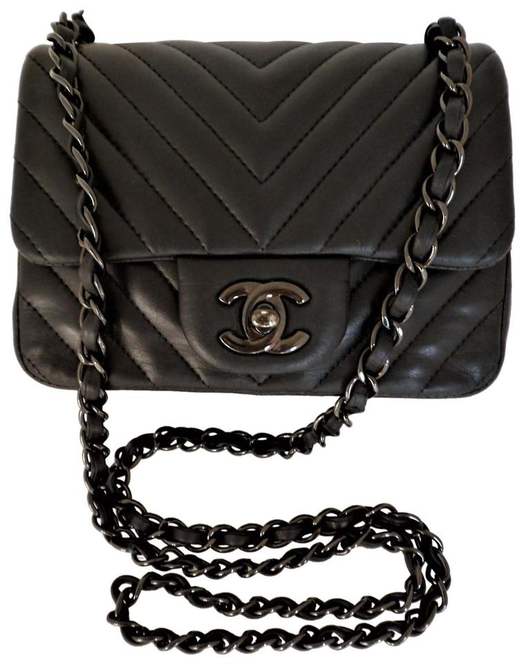 9e27282ebb72cc Chanel Classic Flap Shoulder Chevron Mini Square So Black Lambskin ...