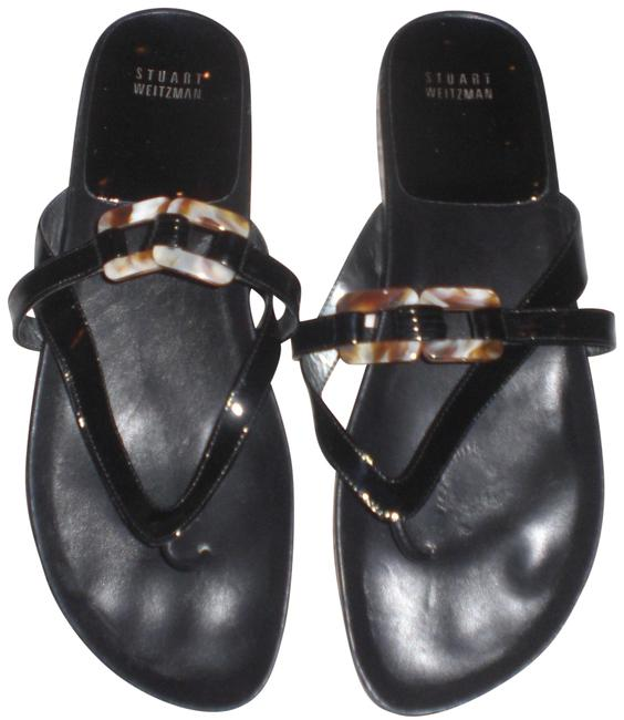 Item - Black Thong Patent Leather with Works Sandals Size US 9.5 Regular (M, B)