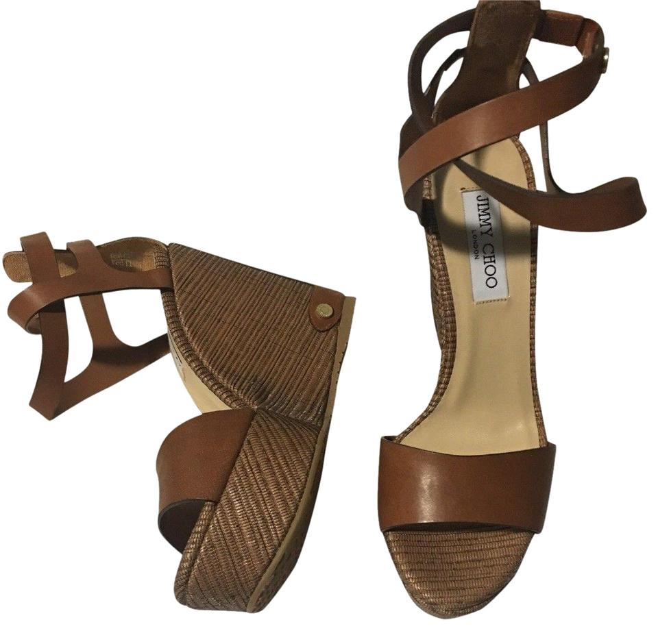 Jimmy Choo Canyon Leather Sandals Noelle Platform Color: Leather/Tan Sandals Leather Wedges 5536fb