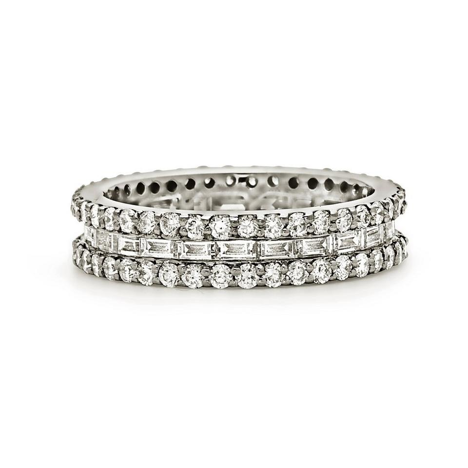 eternity band diamond tapered set channel baguette white gold tilt wedding bands