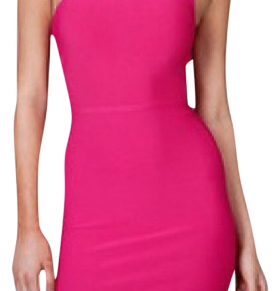 BCBGMAXAZRIA Pink One Shoulder Hot Bandage Mid-length Cocktail Dress ...