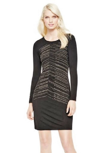 "Item - Black ""Chic"" Heat Set Stud Embellished Mid-length Night Out Dress Size 6 (S)"