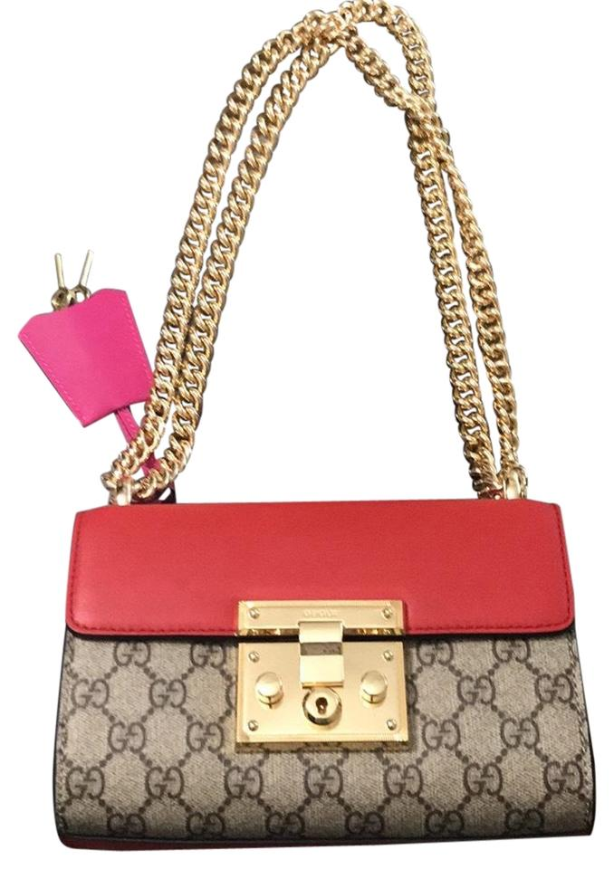 03bbf55ef5d5 Gucci Padlock Small Red/Pink/Beige Leather Cross Body Bag - Tradesy
