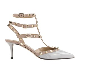 Valentino Stud Heels Sandals Rock Stud Sandals Heels Gucci Grey Pumps