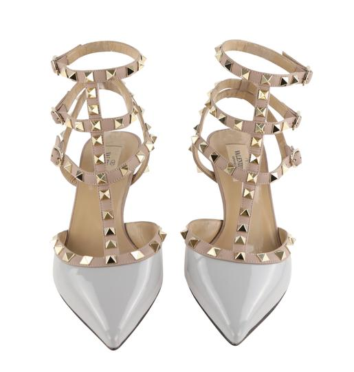 Valentino Stud Heels Sandals Rock Stud Sandals Heels Gucci Grey Pumps Image 2