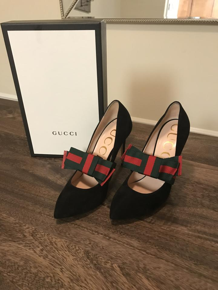 b7609429b9a Gucci Black Suede With Removable Web Bow - Style 481181 C2000 ...