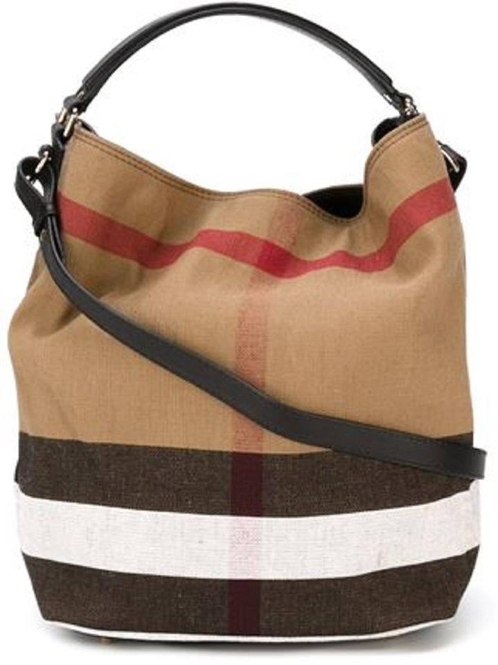 Burberry The Medium Ashby In Canvas Check and Leather Black Hobo Bag ... 2aa0ca0eb8156