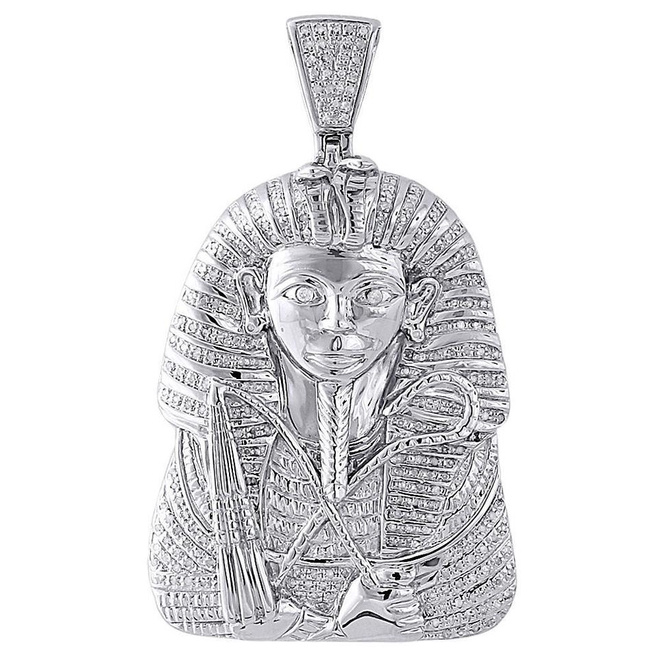 Jewelry for less silver diamond pharaoh king tut mens pendant 925 jewelry for less diamond pharaoh king tut mens pendant 925 sterling silver charm 70 ct aloadofball Image collections