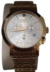 Burberry Burberry Chronograph Gold Dial Gold Ceramic Unisex Watch BU1757