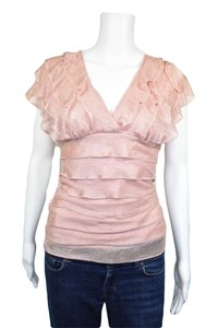 Max Studio Tiered Ruffle Top Pink