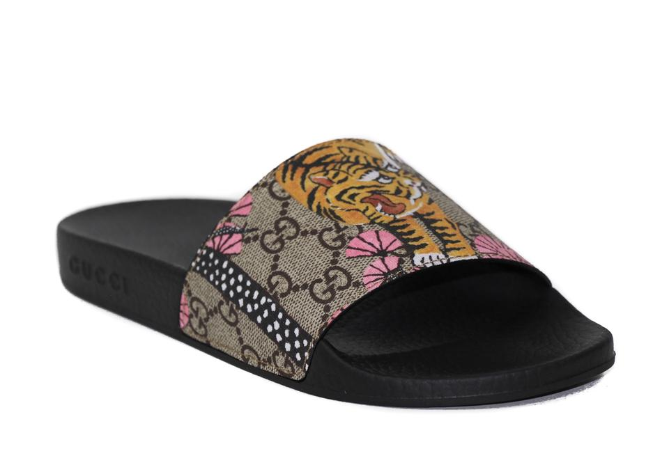 f00be1a7aa8d9 Gucci Multicolor Gg Supreme Bengal Slide Sandals Size EU 37 (Approx ...