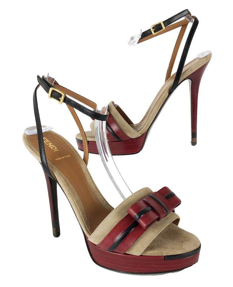 Fendi Red Black Tan 39/9 Suede Ankle Leather Bow Ankle Suede Strap Sandals Platforms 3a5bfe