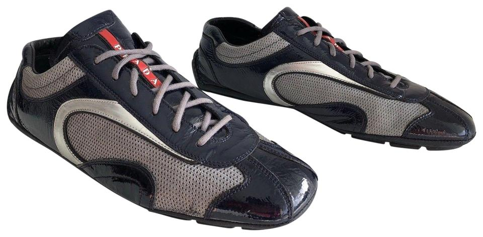 Prada Dark Navy Men Blue Sport Monte Patent Leather Mesh Men Navy Sneakers Sneakers f95f8c