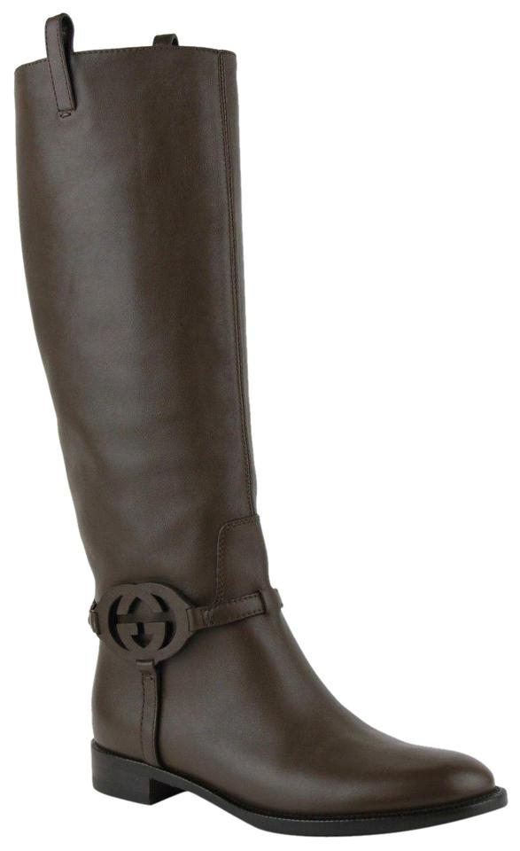 d3153894d1f Gucci Brown Leather Knee with Interlocking G 35 Us 5 338541 2140 Boots  Booties