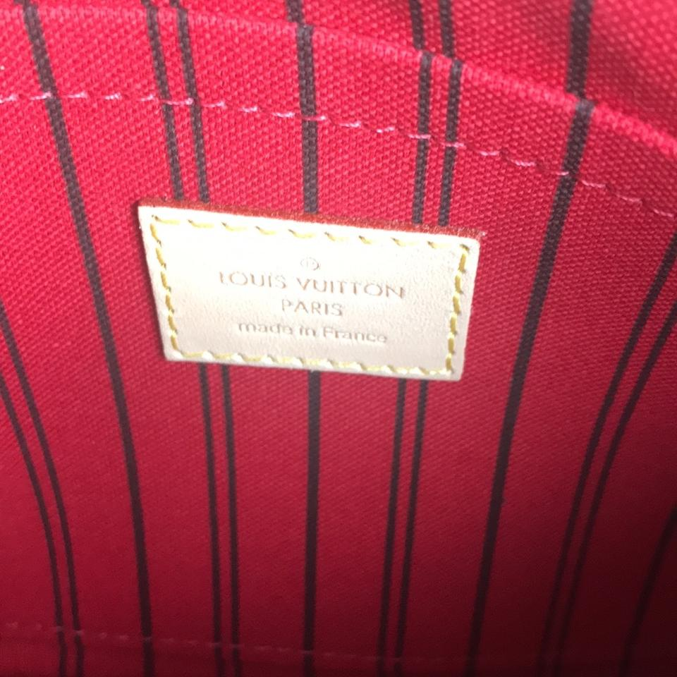 Louis Vuitton Neverfull Pochette Mm Gm In Interior Monogram With Red Textile Lining Damier Ebene
