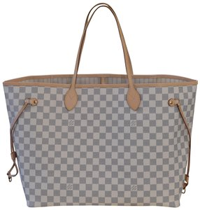 Louis Vuitton Neverfull Mm Gm Lv Tote in Damier Azur with Beige Lining