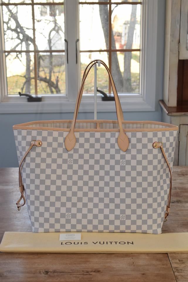 Louis Vuitton Neverfull Gm Largest In Interior Damier Azur With Beige Lining Coated Canvas