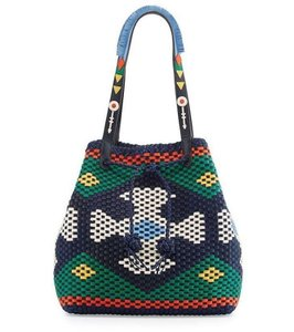 Tory Burch Indie Boho Bohemian Leather Summer Tote in Green Navy Multi BRAND NEW