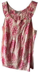 Rebecca Taylor Sleeveless Cutaway Abstract Flowers Top Pink & Cream