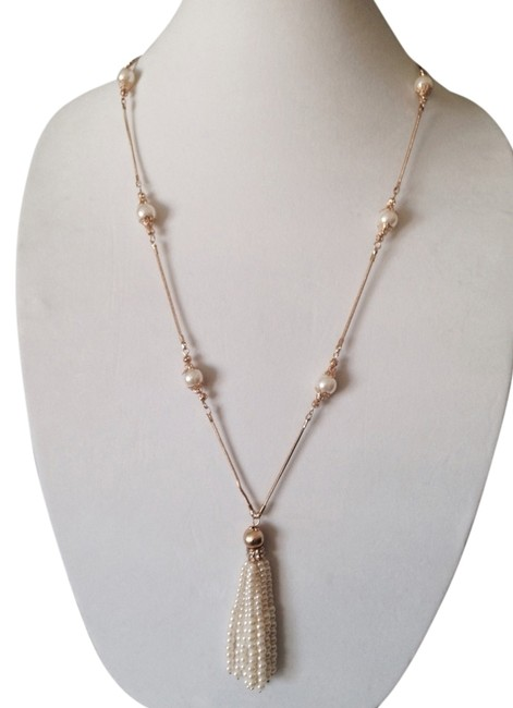 Neiman Marcus White/Gold Nwot Pearl Tassel & 14kt Gold-plate Link Long Necklace Neiman Marcus White/Gold Nwot Pearl Tassel & 14kt Gold-plate Link Long Necklace Image 1