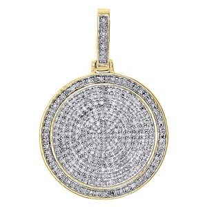 Jewelry For Less 10K Yellow Gold Genuine Diamond Medallion Pendant Pave Charm 0.75 Ct