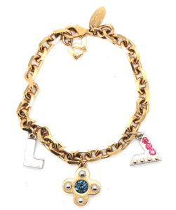 Louis Vuitton LV and monogram flower charms crystals chain bracelet cuff