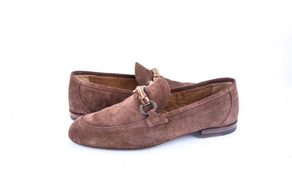 cbffb50c2f0 Gucci   Brown Horsebit Bamboo Suede Loafer Shoes Image 0 ...