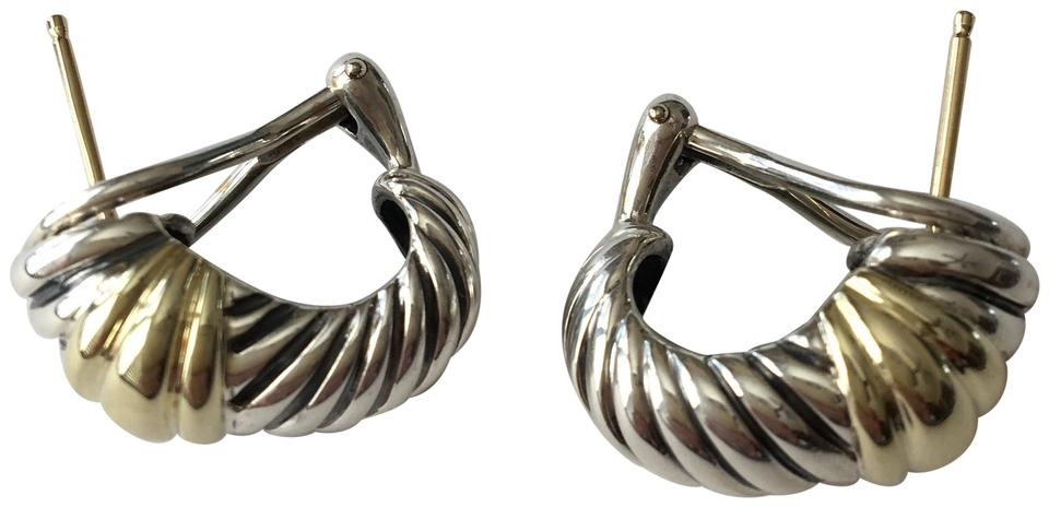 David Yurman Sterling Silver 14k Small Thoroughbred Shrimp Earrings