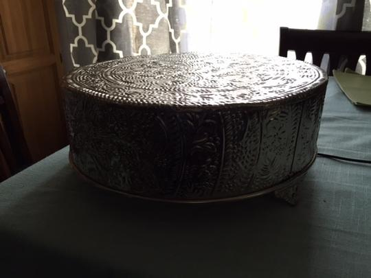 """14"""" Silver Round Cake Stand Plateau"""