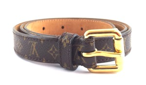Louis Vuitton Monogram gold buckle leather Belt size 80/32
