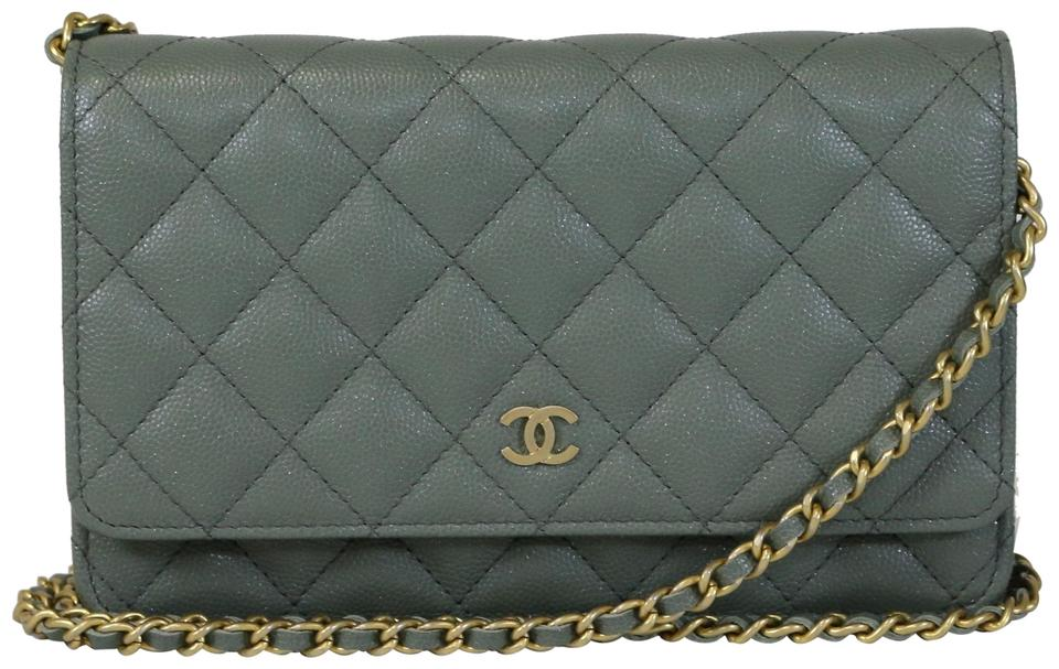 97d258073ea0 Chanel Wallet on Chain Green Iridescent Caviar Cross Body Bag - Tradesy