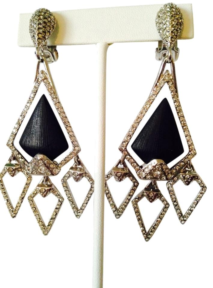Alexis Bittar Nwot Pave Crystals Black Lucite Chandelier Clip Earrings
