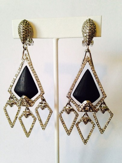 Alexis Bittar NWOT Pave' Crystals & Black Lucite Chandelier Clip Earrings Image 6