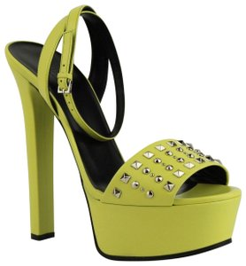 8e9710f0761 Gucci Leather Heel Neon Yellow Platforms