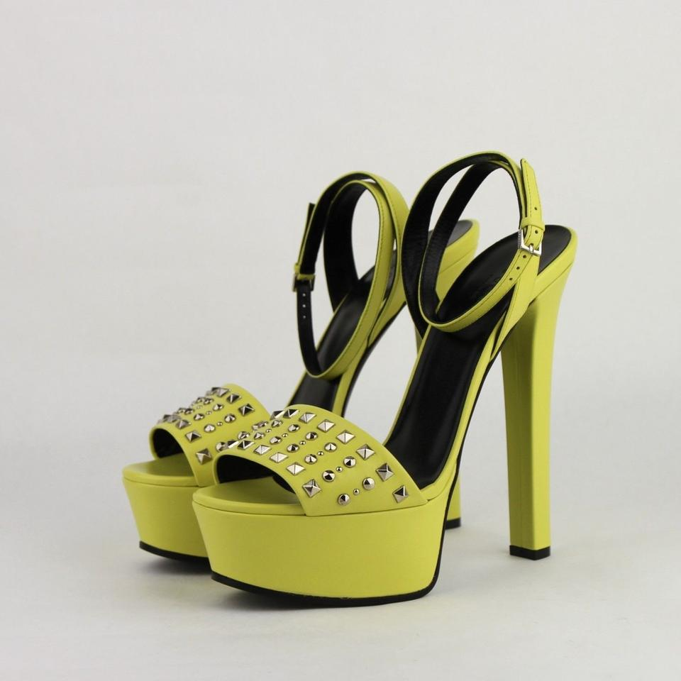729bda5aef3 Gucci Neon Yellow Leather Heel with Silver Studs It 38.5 Us 8.5 ...