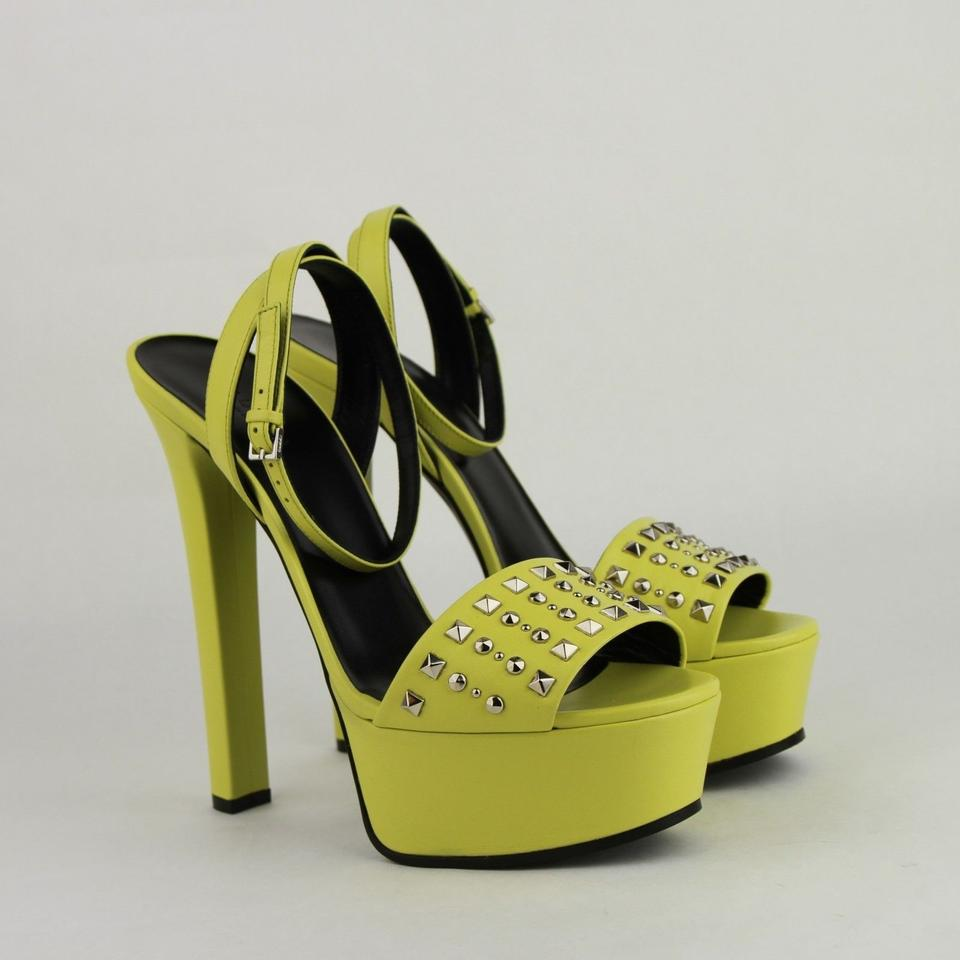 d6d911ef04a Gucci Neon Yellow Leather Heel with Silver Studs It 38.5 Us 8.5 374523 7209  Platforms