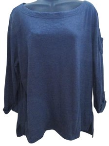 Northcrest Knit Spring Casual Layering Stretch Top Blue