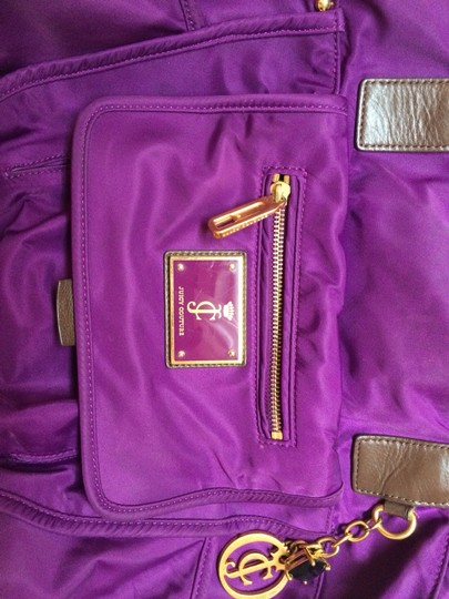 Juicy Couture Travel Big Highschool College Gold Tote in Purple