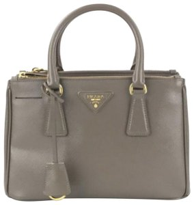Prada Lux Double Zip Small Safiano Satchel in Taupe